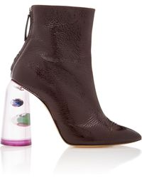 Ellery - Patent Leather And Marbled Perspex Ankle Boots - Lyst