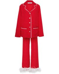 Sleeper - Ostrich Feather-trimmed Satin Pajama Set - Lyst