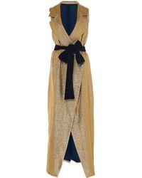 Leal Daccarett Gaia Sleeveless Lamé Wrap Dress - Metallic