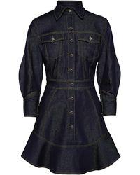 Brandon Maxwell Stretch-denim Mini Shirt Dress - Blue