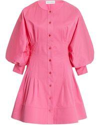 Oscar de la Renta Balloon Sleeve Cotton-blend Mini Dress - Pink