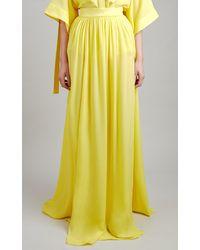 Elie Saab Silk Chiffon Maxi Skirt - Yellow