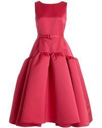 Huishan Zhang Audrey Belted Satin Midi Trapeze Dress - Pink