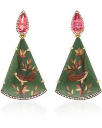 Silvia Furmanovich 18k Gold, Marquetry, Tourmaline And Diamond Earrings - Green