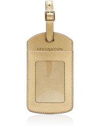 Smythson Panama Leather Luggage Tag - Metallic
