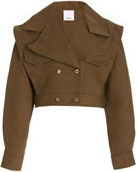 Acler Cropped Cotton And Linen-blend Jacket - Green