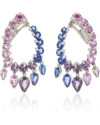 Gioia - 18k White Gold And Sapphire Creole Hoop Earrings - Lyst