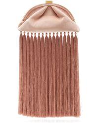 Zimmermann Velvet Fringe Pouch Clutch - Pink