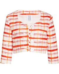 Rosie Assoulin Plaid Cotton-blend Faille Cropped Jacket - Red