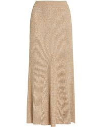 Significant Other Liv Ribbed-cotton Midi Skirt - Natural