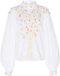Thierry Colson Teresa Embroidered Cotton Long Sleeve Blouse - White