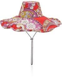 Etro Floral-print Cotton Hat - Red