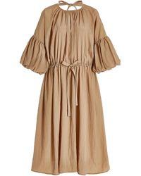 Deveaux Riley Crinkled Crepe Peasant Dress - Brown