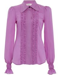 Victoria Beckham Ruffled Silk Tuxedo Top - Purple