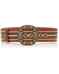 Etro Embroidered Leather Waist Belt - Brown