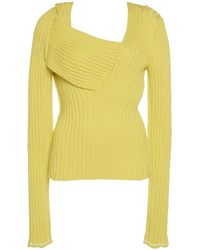 Bottega Veneta Fitted Rib-knit Asymmetric Top - Yellow