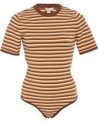 Michael Kors - Striped Crewneck Knit Bodysuit - Lyst