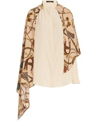 ROKH Draped Scarf-accented Silk Blouse - Multicolor