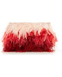 Altuzarra Espadrille Gradient Feather Clutch - Pink