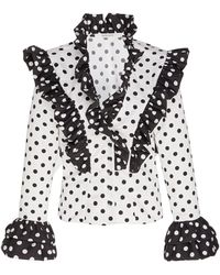 Rodarte Ruffled Polka Dot Printed Top - Black