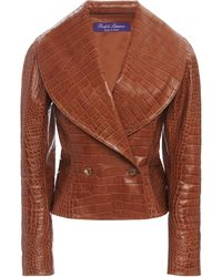 Ralph Lauren Breanna Croc-effect Leather Jacket - Brown