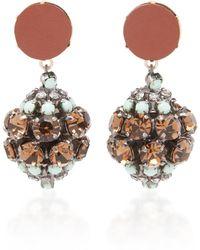 Marni - Leather And Rhinestone Earrings - Lyst