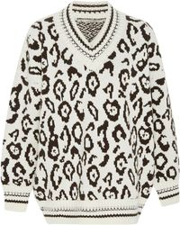 Ermanno Scervino - Leopard-print Intarsia-knit Cashmere And Wool-blend Sweater - Lyst
