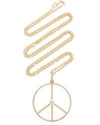 Sheryl Lowe 14k Yellow Gold Peace Sign Necklace - Metallic