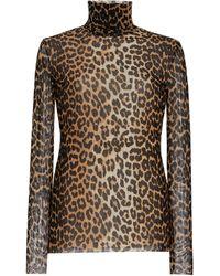 Ganni Leopard-print Mesh Turtleneck Top - Brown