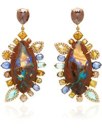 Nina Runsdorf - M'o Exclusive: One-of-a-kind Yahweh Opal Earrings With Fancy Color Diamond - Lyst