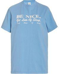 Sporty & Rich Be Nice Cotton T-shirt - Blue