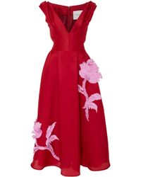 Carolina Herrera - V-neck Embroidered Cocktail Dress - Lyst