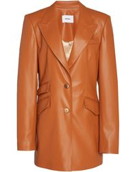 Nanushka Cancun Oversized Vegan Leather Blazer - Orange