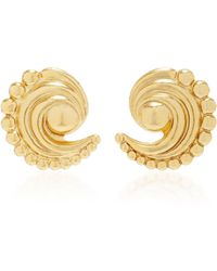 Nicole Romano - 18k Gold-plated Swirled Crescent Metal Earrings - Lyst