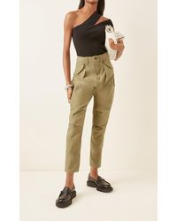 R13 Harem Cotton Cropped Cargo Trousers - Green