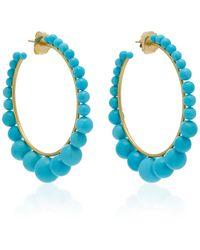 Irene Neuwirth 18k Gold And Turquoise Hoop Earrings - Metallic