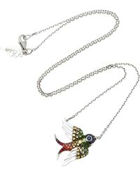 Colette | 18k White Gold, Sapphire And Tsavorite Necklace | Lyst