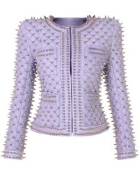 Balmain Spiked Quilted Leather Jacket - Metallic