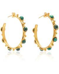 Sylvia Toledano Petite Candy Malachite Hoop Earrings - Green