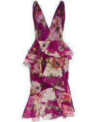 Marchesa Plunging Neckline Floral Silk Dress - Multicolour