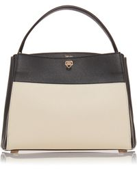 Valextra - Brera Small Two-tone Leather Top Handle Bag - Lyst