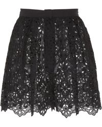 Elie Saab - Embroidered Poplin Shorts - Lyst