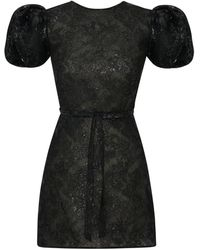 The Vampire's Wife Scoop Dog Puffed-sleeve Jacquard Mini Dress - Black