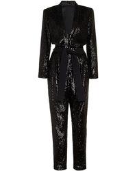 A.L.C. Kieran Belted Sequined Crepe Jumpsuit - Black