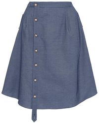 Alexis Mabille - Button Up Chambray Skirt - Lyst