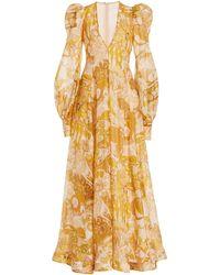 Zimmermann Tempo Puff-sleeve Printed Linen-silk Gown - Multicolour