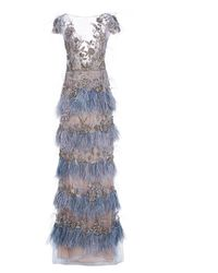 Marchesa - Beaded-embellished Organza Gown - Lyst