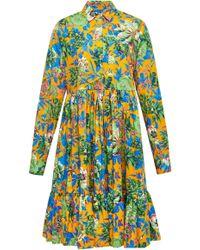 MSGM   Tropical Jungle Poplin Shirt Dress   Lyst