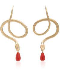 Annette Ferdinandsen 14k Gold, Diamond And Coral Earrings - Metallic