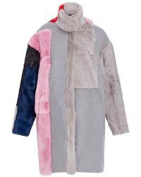 Jo No Fui - Intarsia Wool Lapin And Kid Lamb Fur Overcoat - Lyst